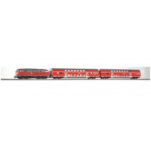 PIKO Ho 57150 Model Train  HO SCALE 1:87 BR 218 Diesel Loco With 2 Bi-Level Passenger Coaches With Oval Of Track