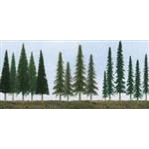 "TT Scenery Products HO-N Evergreen Trees, Mixed Bag Conifer, Pine, and Spruce 2.5"" to 6"" Tall (5 Pcs.)"