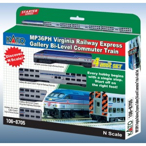 Kato N MP36PH VRE Gallery Bi-Level Commuter Train Set