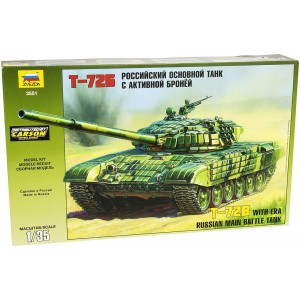 ZVEZDA T-72B With ERA Russian Main Battle Tank - 1/35 Scale Model Kit (Free Shipping)