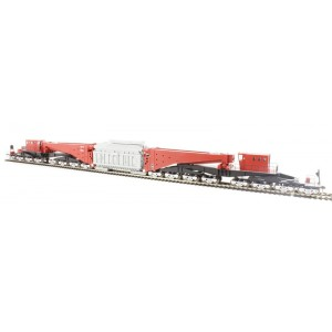 Bachmann Ho Scale 380-TON SCHNABEL TRANSFORMER CAR - RED & BLACK with GRAY LOAD and SILVER TRUCKS