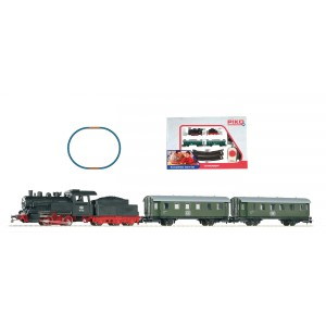 Piko Ho 57110 Model Train Hobby Start-Set steam engine with passenger train with Oval Of Track