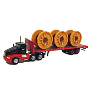 Model Power Tractor/Trailer - Short-Haul Tractor (No Sleeper) w/Flatbed Trailer