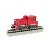 Bachmann N Scale INDUSTRIAL - RED WITH WHITE STRIPES - MDT PLYMOUTH SWITCHER - DC