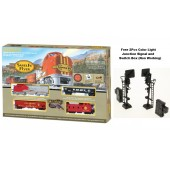 Bachmann  Santa Fe Flyer Ready - to - Run HO Scale Electric Model Train Set Free 2Pcs Color Light Junction Signal and Switch Box (Non Working)